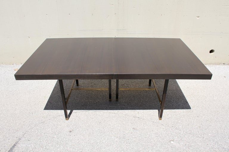 Large Harvey Probber Mahogany and Brass Dining Table For Sale 2