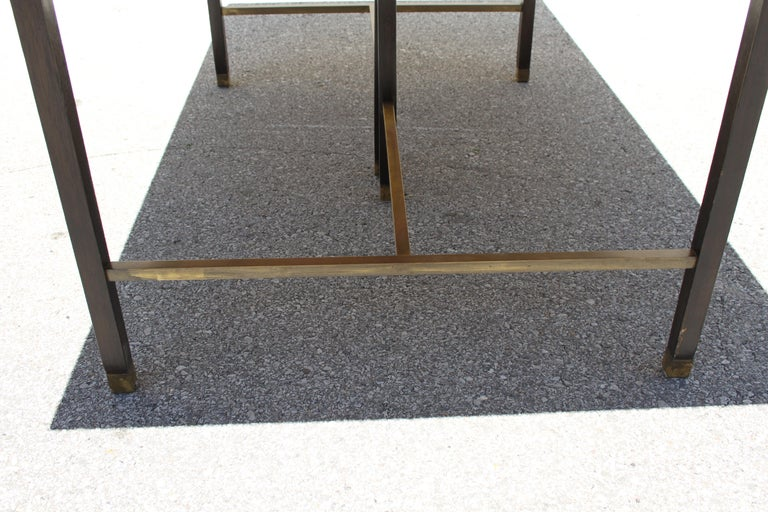 Large Harvey Probber Mahogany and Brass Dining Table For Sale 3