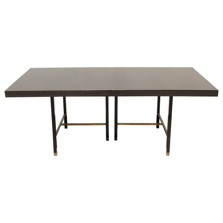 Large Harvey Probber Mahogany and Brass Dining Table For Sale