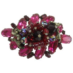 Large Hattie Carnegie Pink, Red, and Clear Glass and Bead Brooch