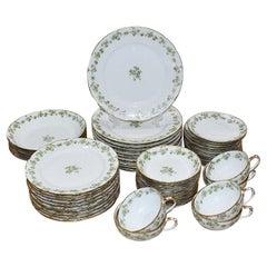 Large Haviland Limoges Porcelain Tableware Set France 54 Pieces 1800s