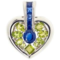 Large Heart 7.50 Carat Sapphires Peridots 18 Carat White Gold Pendant