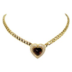 Large Heart Shaped Citrine and Pave Diamond Necklace with Gold Cuban Link Chain