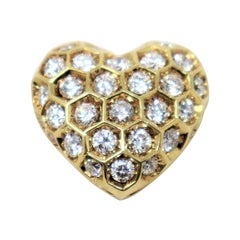 Large Heart Shaped Honeycomb Round Diamond Dome Pendant in 18 Karat Yellow Gold