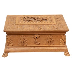 Large Heavily Carved Antique Oak Box, circa 1890