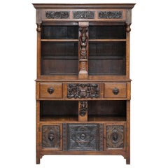 Large Heavily Carved Bookcase Cupboard with Ornate Cherub Putti & Lion Figures