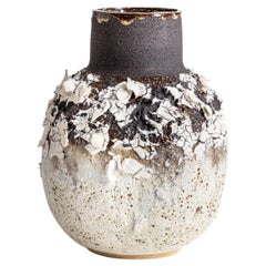 Large Heavily Textured Stoneware, Porcelain Black and White Clay Vessel