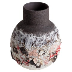 Large Heavily Textured Stoneware, Porcelain Black, White, Pink, Red Clay Vessel