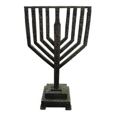 Large Heavy Brutalist Hand Forged in Israel Iron Hanukkah Menorah Sculpture