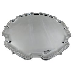 Large & Heavy English Georgian-Style Sterling Silver Salver Tray