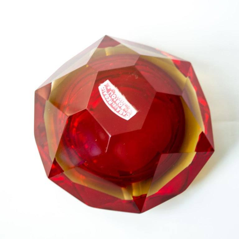 Art Glass Large, Heavy Flavio Poli Sommerso Murano Ashtray 1950s Faceted Red Blue Glass For Sale