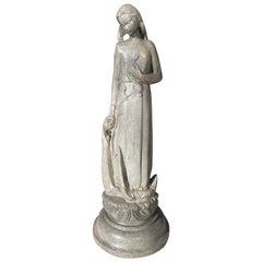 Large Heavy Lead Fountain Depicting a Maiden, Denmark, circa 1880