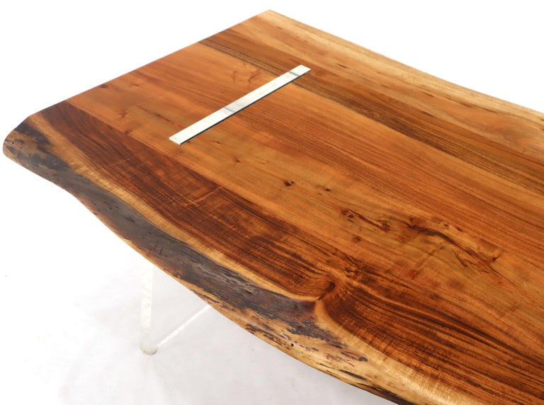 Large Heavy Solid Teak Slab Floating Top Coffee Table on ...