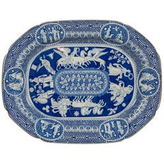 Large Blue and White Neoclassical Platter Made by Heculaneum in England, c-1810