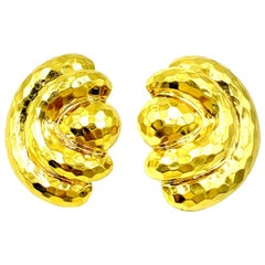 Large Henry Dunay 18 Karat Yellow Hammered Gold Stylized Lotus Earrings