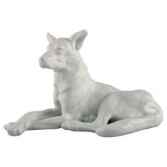 Large Herend Blanc De Chine Figure, German Shepherd, 1930/40's