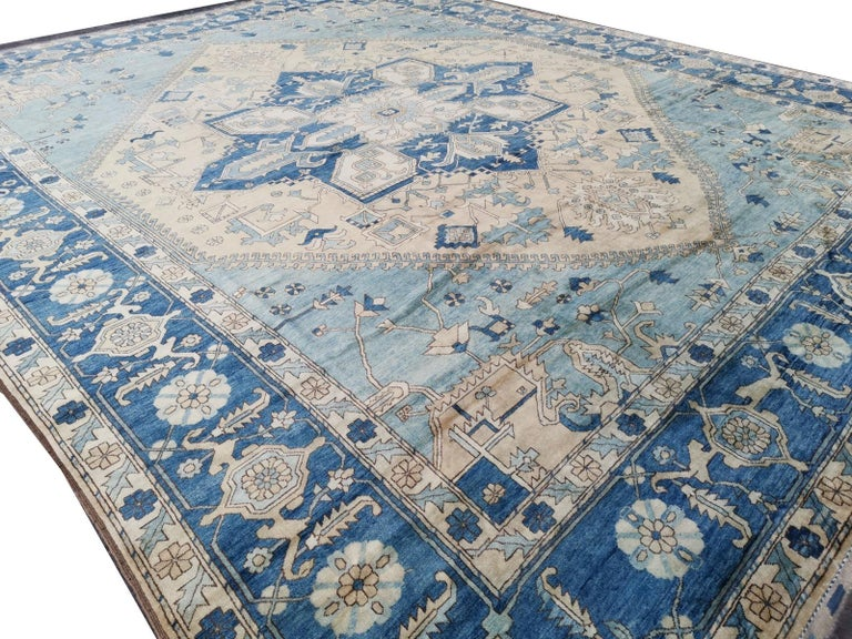 Large Heriz Style Rug Oversized Hand Knotted Blue Beige For Sale 2