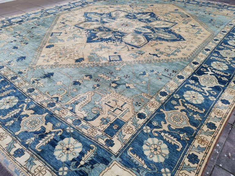 Large Heriz Style Rug Oversized Hand Knotted Blue Beige For Sale 3