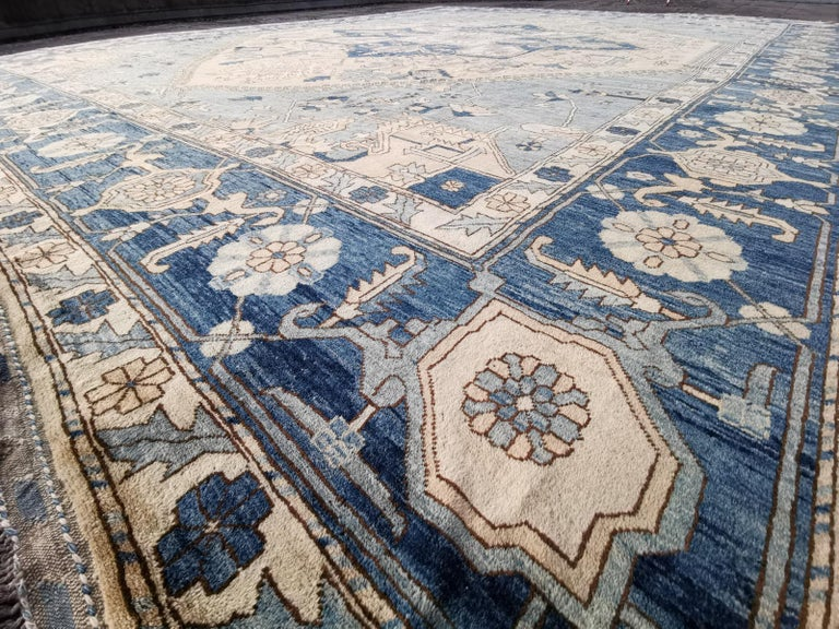 Large Heriz Style Rug Oversized Hand Knotted Blue Beige For Sale 4