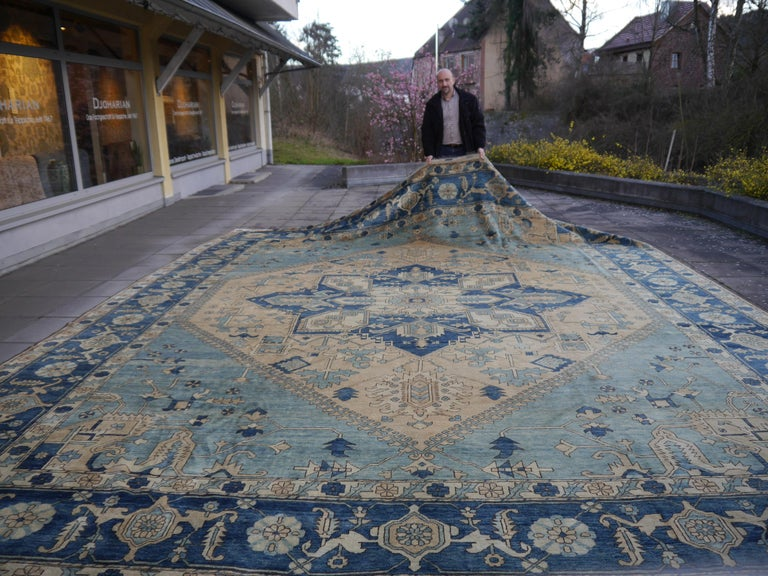 Large Heriz Style Rug Oversized Hand Knotted Blue Beige For Sale 5