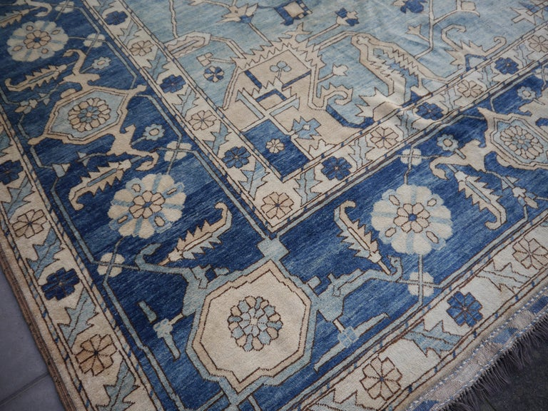 Large Heriz Style Rug Oversized Hand Knotted Blue Beige For Sale 6