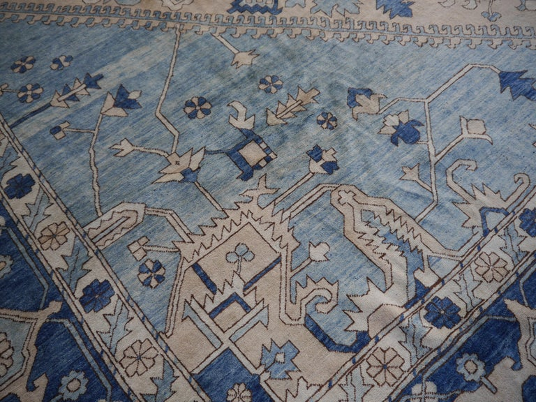 Large Heriz Style Rug Oversized Hand Knotted Blue Beige For Sale 7