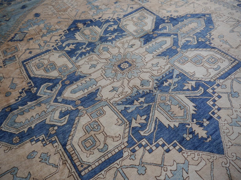 Large Heriz Style Rug Oversized Hand Knotted Blue Beige For Sale 8