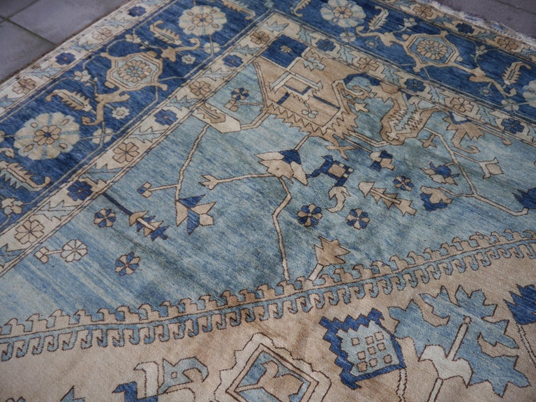 Large Heriz Style Rug Oversized Hand Knotted Blue Beige For Sale 9