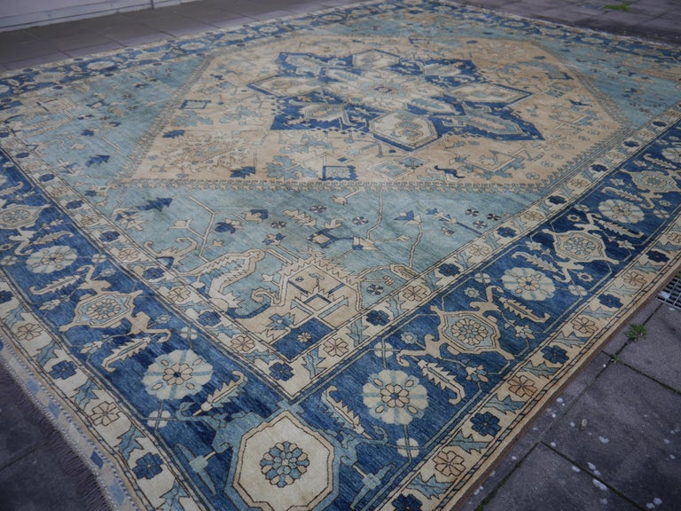 Large Heriz Style Rug Oversized Hand Knotted Blue Beige For Sale 10