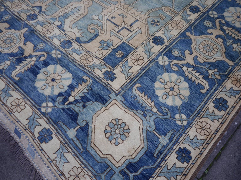 Large Heriz Style Rug Oversized Hand Knotted Blue Beige For Sale 11
