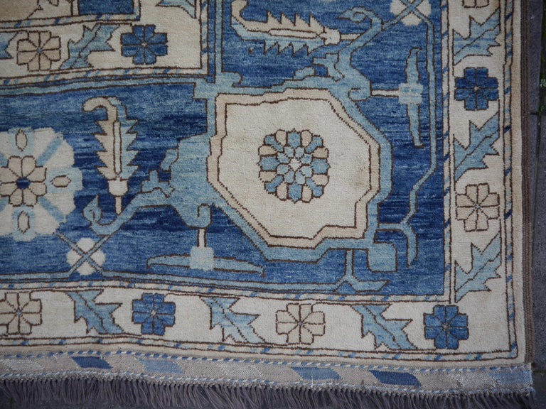 Large Heriz Style Rug Oversized Hand Knotted Blue Beige For Sale 12