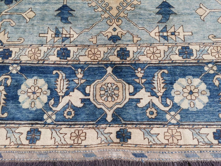 Heriz Serapi Large Heriz Style Rug Oversized Hand Knotted Blue Beige For Sale