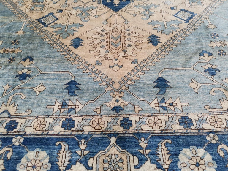 Afghan Large Heriz Style Rug Oversized Hand Knotted Blue Beige For Sale