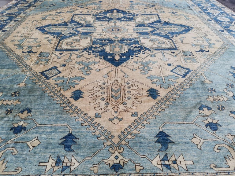 Hand-Knotted Large Heriz Style Rug Oversized Hand Knotted Blue Beige For Sale