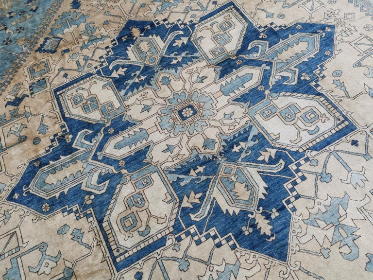 20th Century Large Heriz Style Rug Oversized Hand Knotted Blue Beige For Sale
