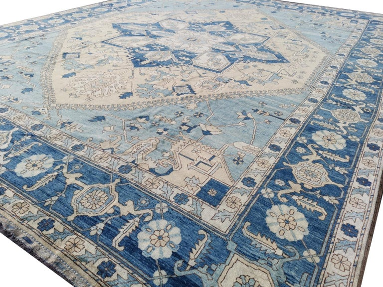 Wool Large Heriz Style Rug Oversized Hand Knotted Blue Beige For Sale