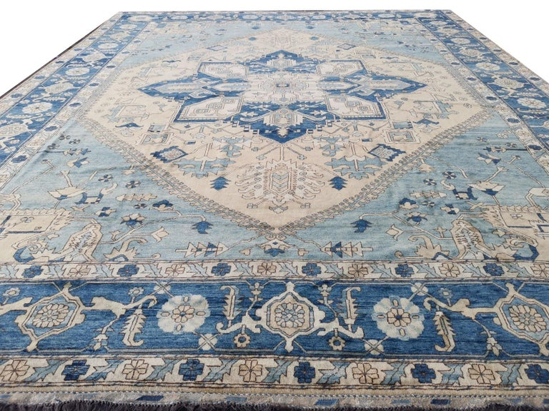 Large Heriz Style Rug Oversized Hand Knotted Blue Beige For Sale 1