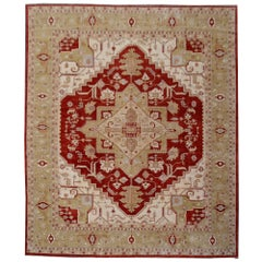Large Heriz Style Rug Hand Knotted Contemporary Oversize