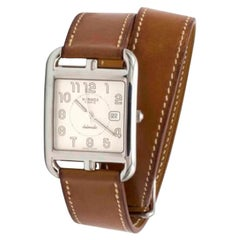 """Large Hermes """"Cape Cod"""" Stainless Steel Barenia Leather Bracelet Wristwatch"""