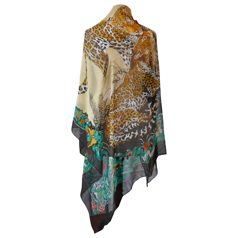"Large HermesSilk Chiffon Shawl ""Jungle Love"" Designby Robert Dallet"