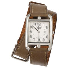 Large Hermes Stainless Steel Cape Cod Taupe Double Strap Watch