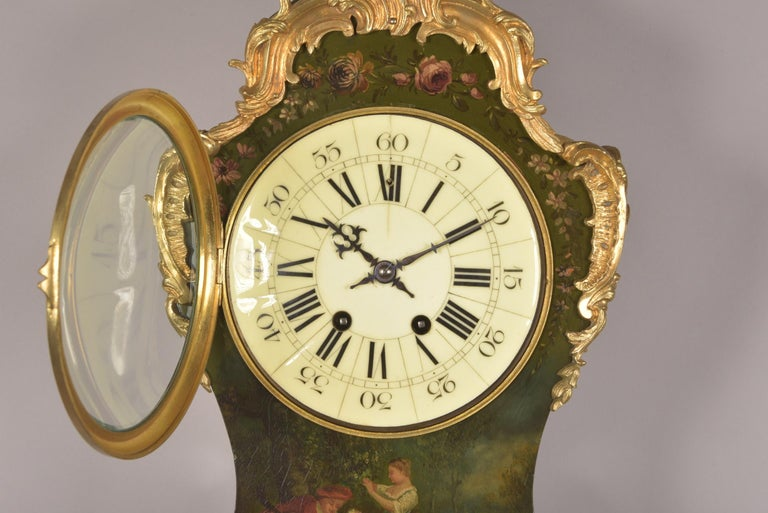 Monumental Empire mantel clock, Apollo and his attribute, very finely finished reliefs. Power reserver: 8 day movement Striking: half hour, one bell This clock comes with a pendulum and key. The movement has recently been serviced and it runs