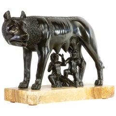 Large, Highly-Detailed Bronze Capitoline Wolf on Alabastro Fiorito Base