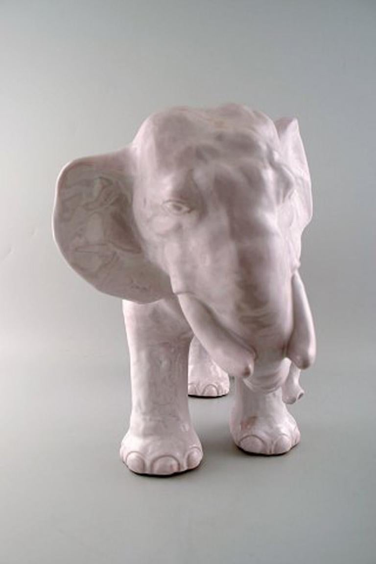 Large Hjorth (Bornholm, Denmark) glazed stoneware figure, large elephant.