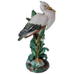 Large Holdcroft Majolica Stork Stick Stand