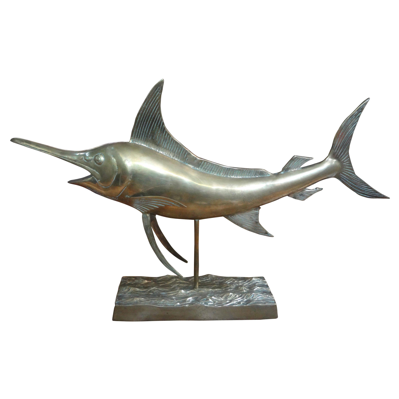 Large Hollywood Regency Brass Marlin Sculpture