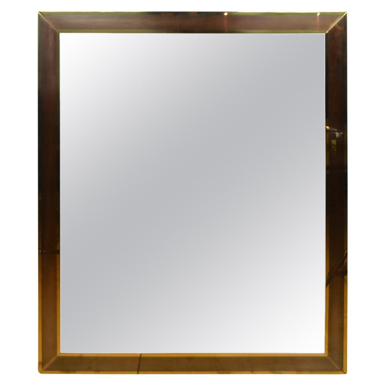 Large Hollywood Regency Brass Mirror, Belgo Chrome Style