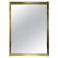 Large Hollywood Regency Brass Wall Mirror with Rounded Edges