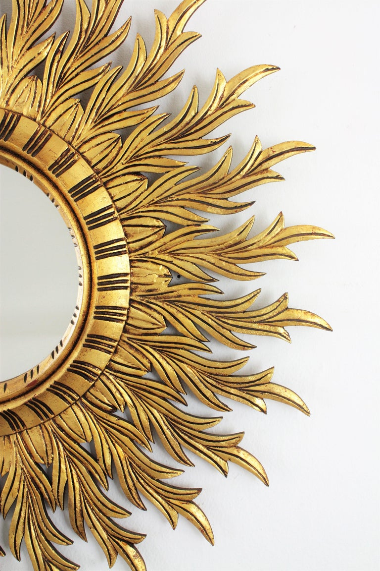 Large Hollywood Regency Carved Giltwood Round Sunburst Mirror, Spain, 1960s For Sale 1