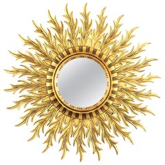 Large Hollywood Regency Carved Giltwood Round Sunburst Mirror, Spain, 1960s